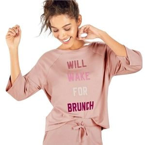 """Fabletics XS """"Will Wake For Brunch"""" Top Mauve Top"""